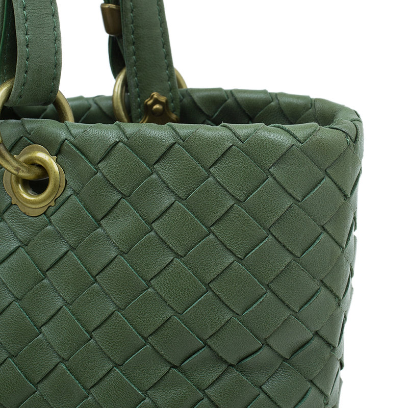 Bottega Veneta Olive Green Leather Woven Small Capri Tote Bag