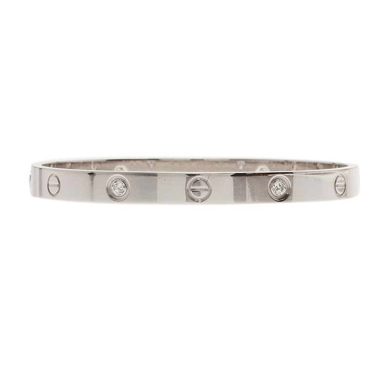 Cartier Love 4 Diamonds White Gold Bracelet 18CM