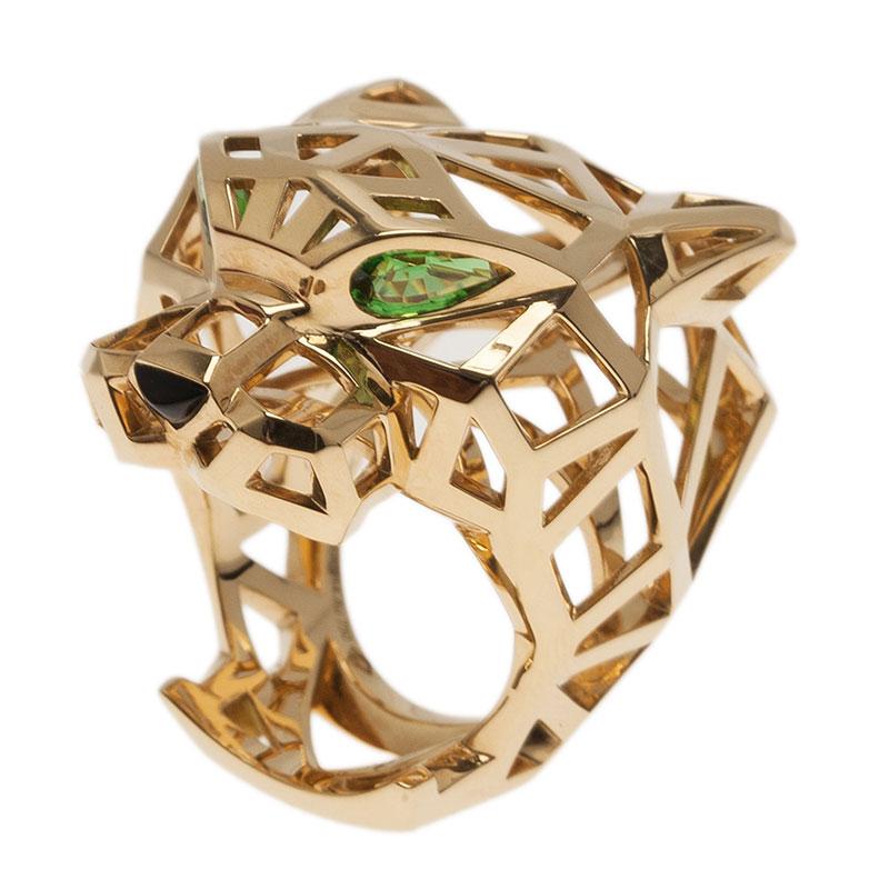 Cartier Panthère Tzavorite Garnet Yellow Gold Ring Size 52