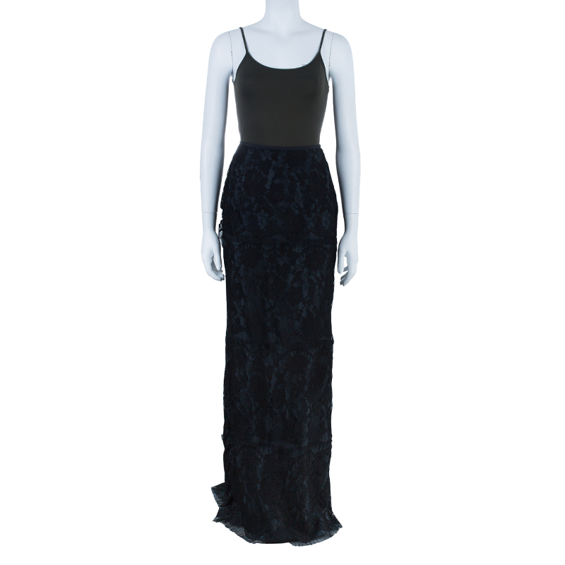 Lanvin Tiered Lace Maxi Skirt M