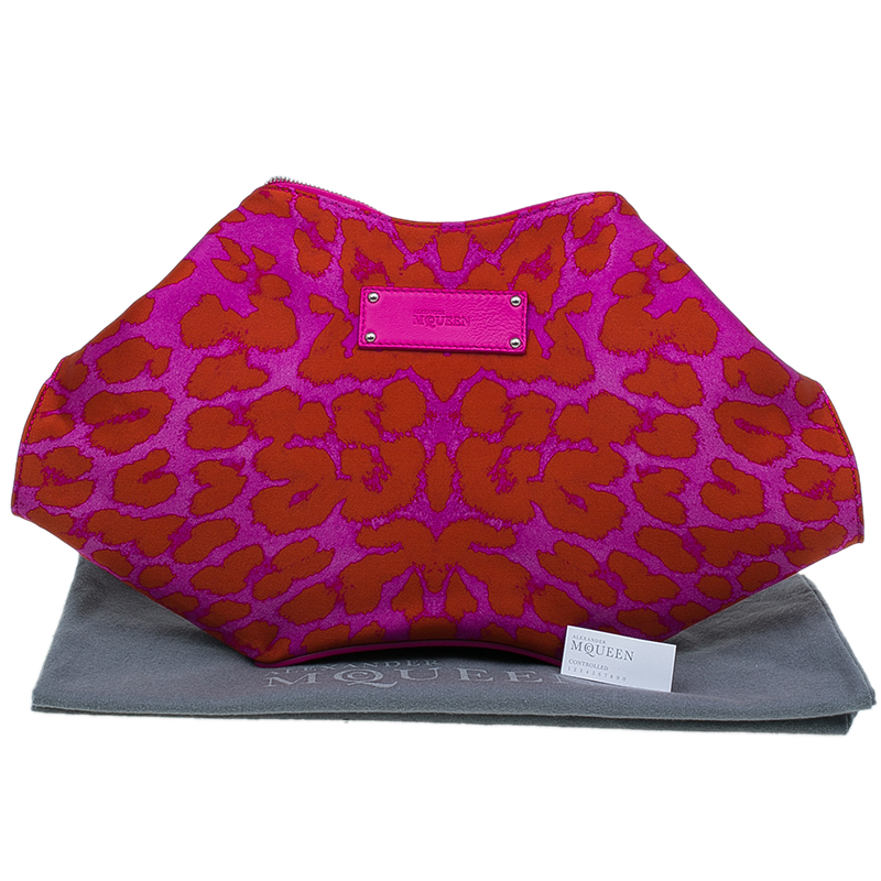 Alexander McQueen Red Leopard Print Satin Medium Floral De Manta Clutch