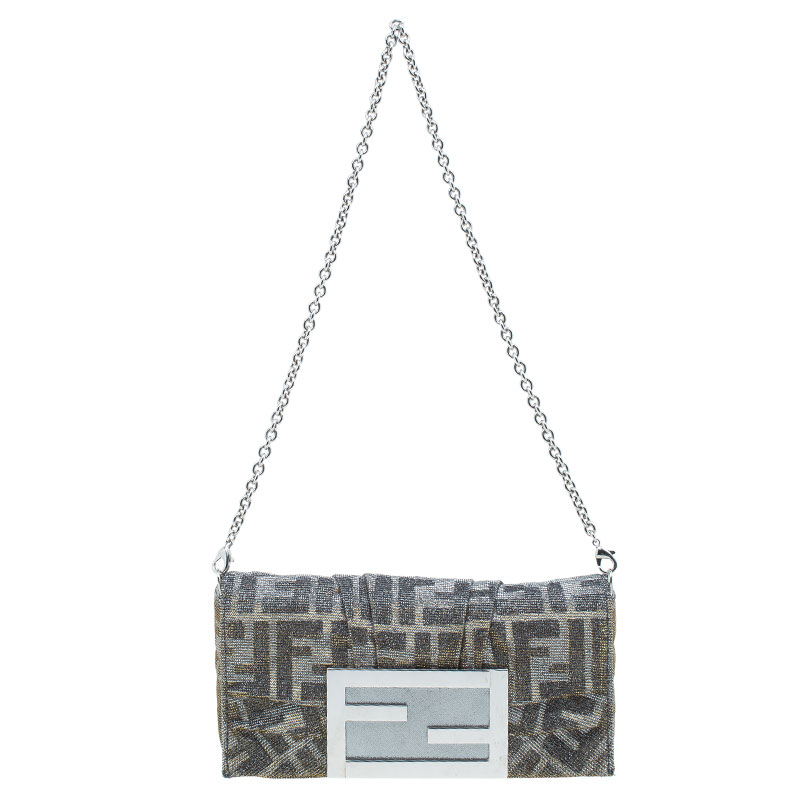Fendi Metallic Silver Monogram Canvas Mia Evening Bag