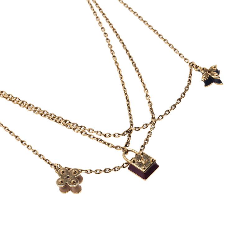 Louis Vuitton Sweet Charms Gold Tone Necklace