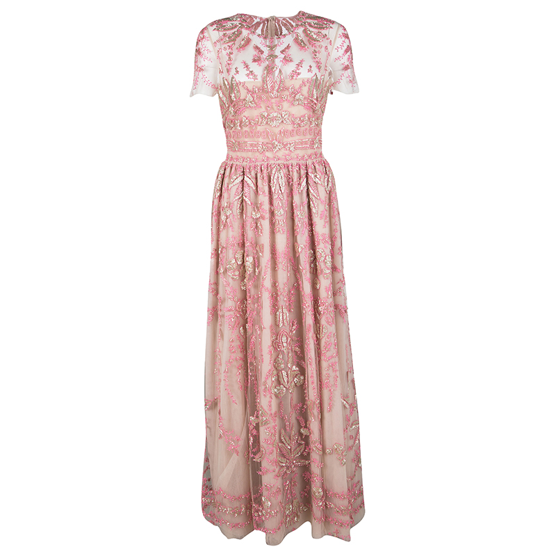Valentino Pink Sequin Embellished Tulle Gown L - Buy & Sell - LC
