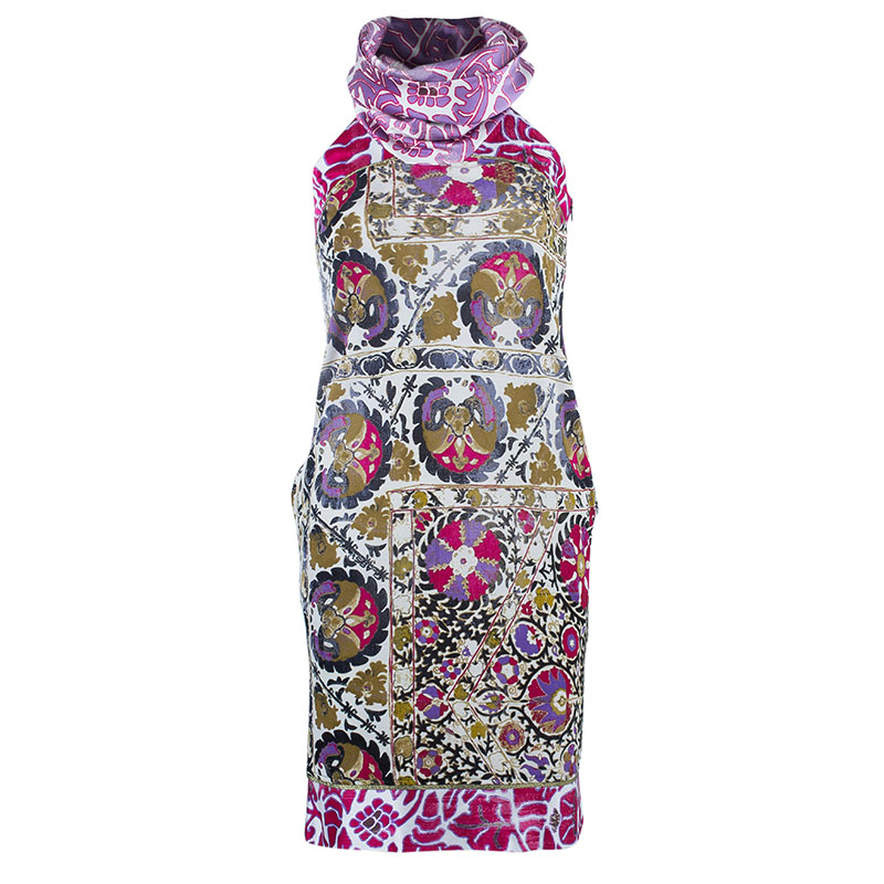 Class by Roberto Cavalli Pink Printed Turtleneck Dress S