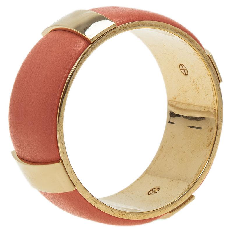 Chloe Pink Leather Gold Tone Bangle Bracelet