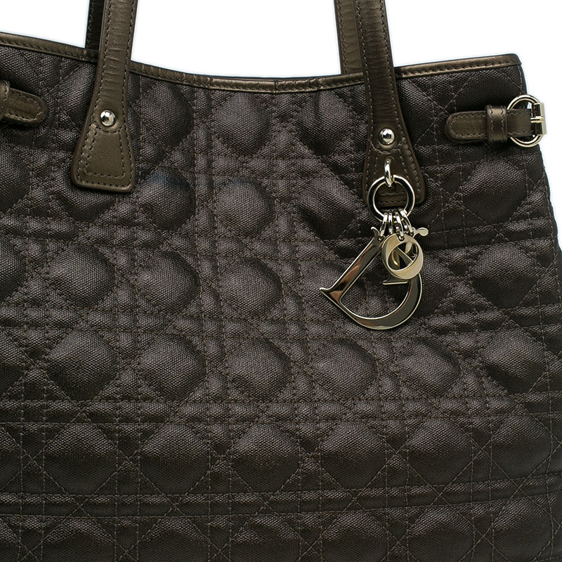Dior Metallic Bronze Cannage Quilted Coated Canvas Medium Panarea Tote Bag
