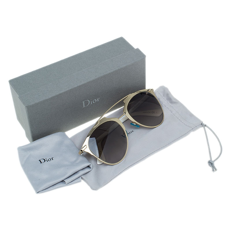 Dior Gold and White Reflected Sunglasses