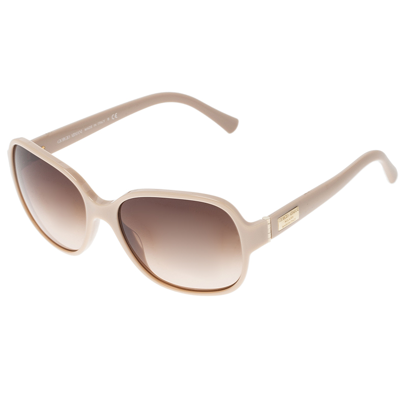 Giorgio Armani Cream 8020 Oversized Square Sunglasses