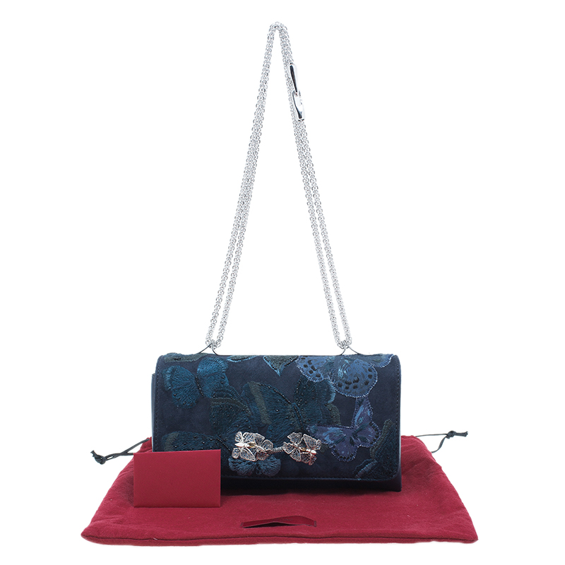 Valentino Navy Blue Leather and Suede Medium Camubutterfly Small Shoulder Bag