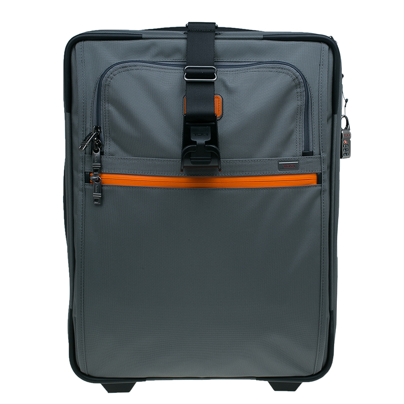 Tumi Grey/Orange Nylon Alpha 2 Expandable 2 Wheel Carry On Luggage