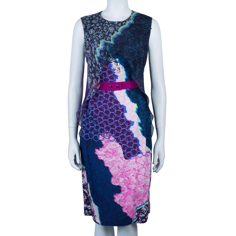 Peter Pilotto Multicolor Print Cross Column Sleeveless Dress M