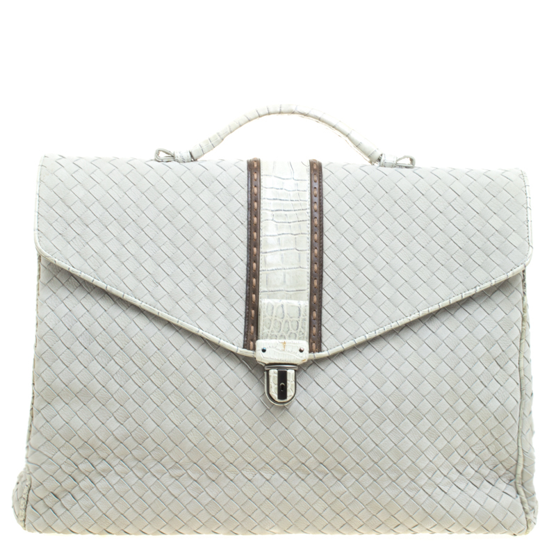 25c1f626b4d8 Bottega Veneta Grey Intrecciato Leather Crocodile Trim Briefcase. nextprev.  prevnext pretty ...