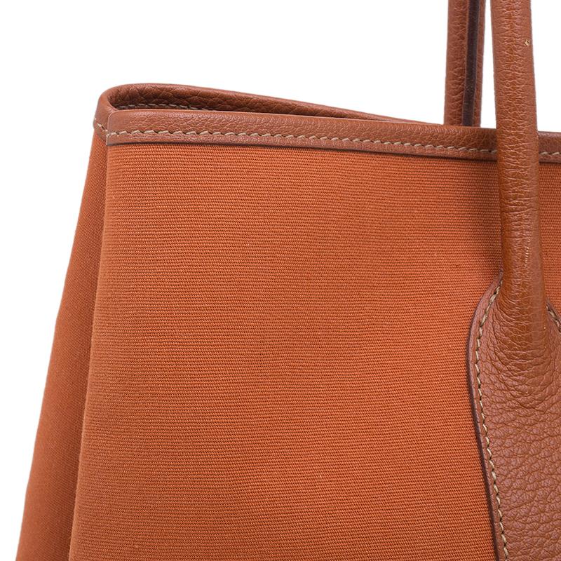 Hermes Orange Canvas/Leather Garden Party MM Tote Bag