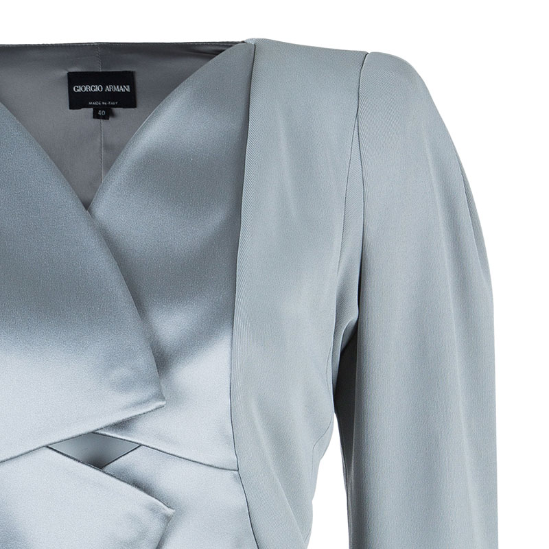 Giorgio Armani Grey Structured Lapel Blazer M