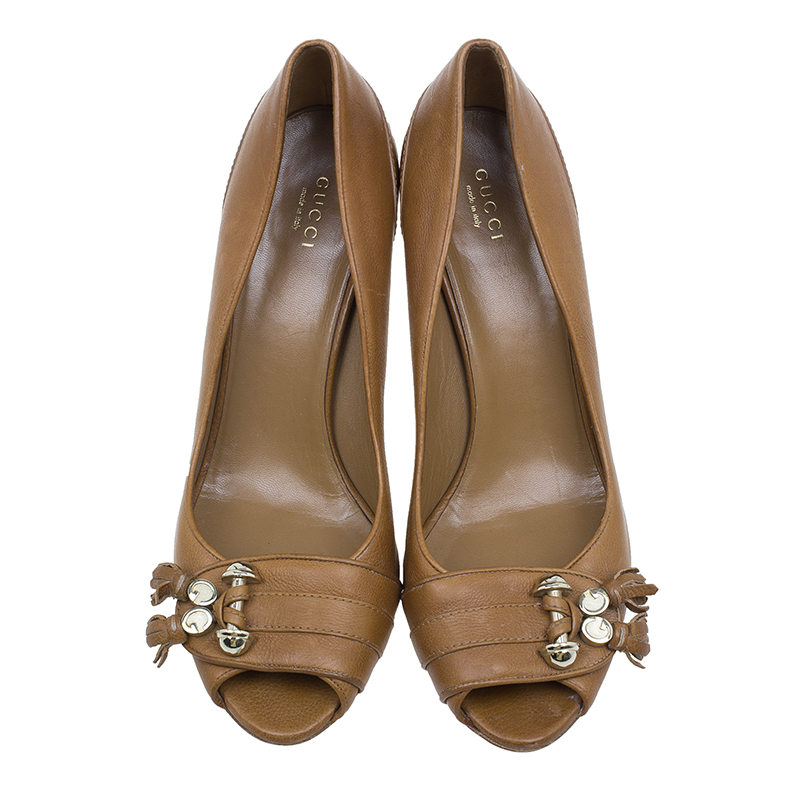 Gucci Tan Leather Marrakesh Tassel Peep Toe Pumps Size 40.5