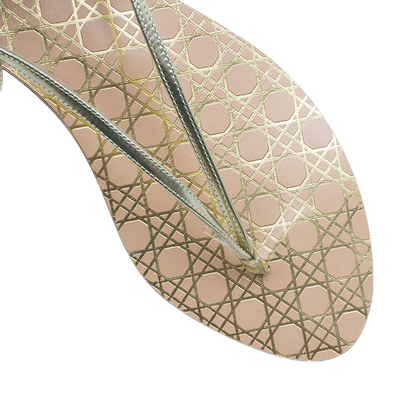 Dior Gold Leather Cannage Thong Sandals Size 40