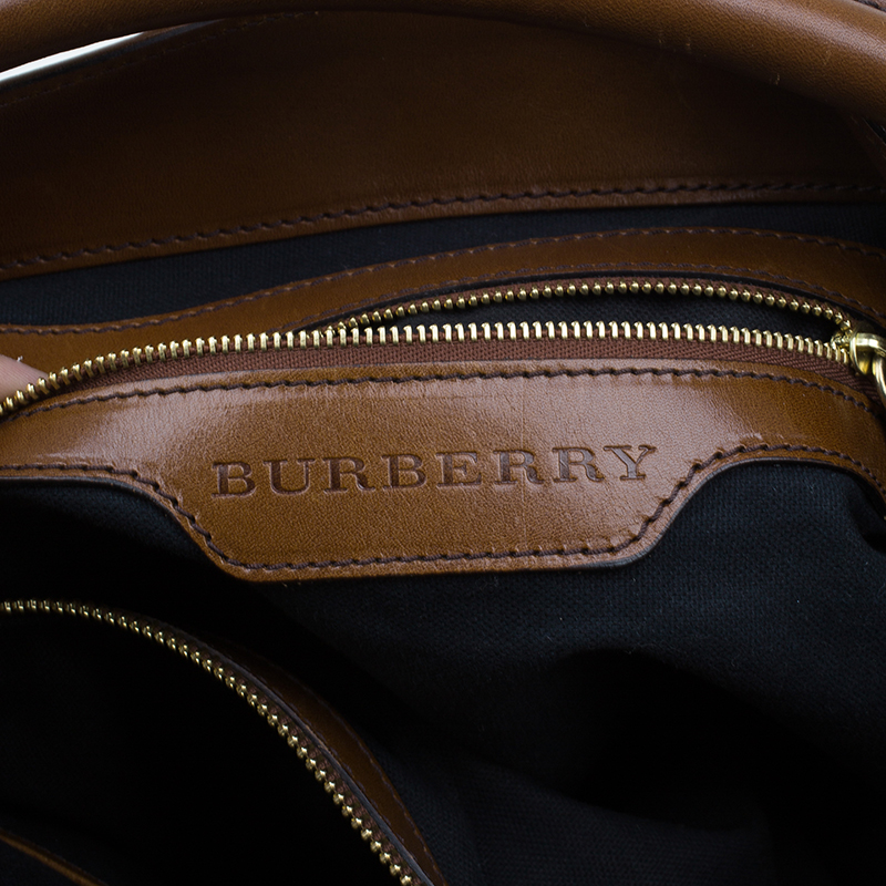 Burberry Dark Tan Canvas Medium Briddle House Check Gosford Hobo