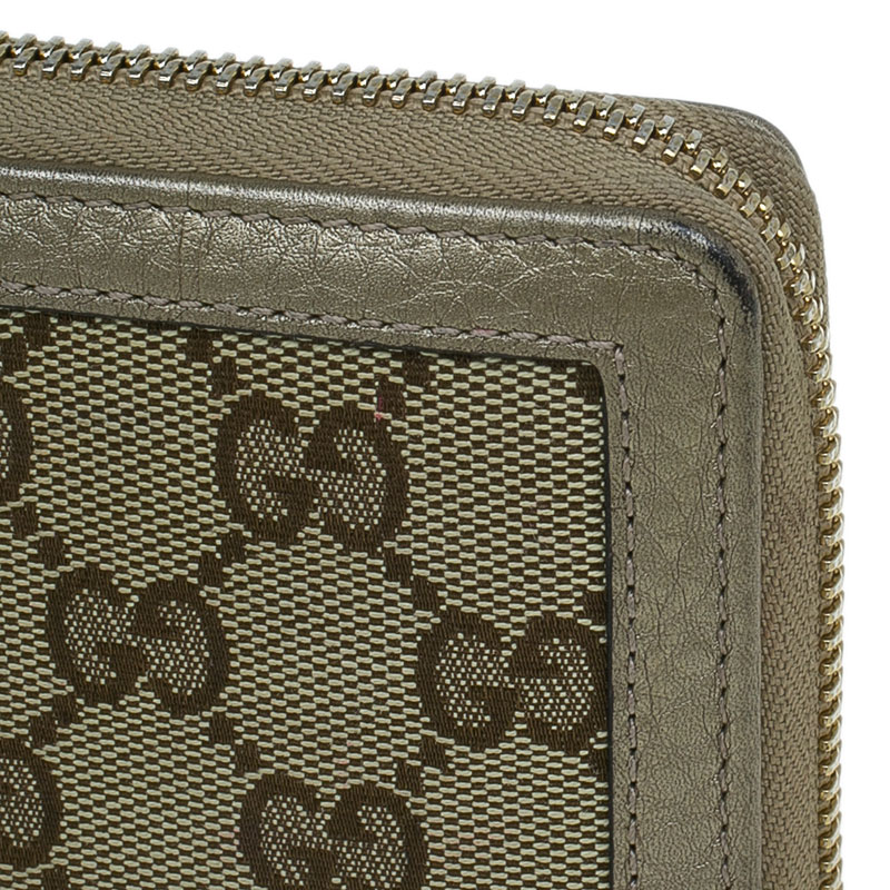 Gucci Beige GG Canvas and Leather Tassel Zip-around Continental Wallet