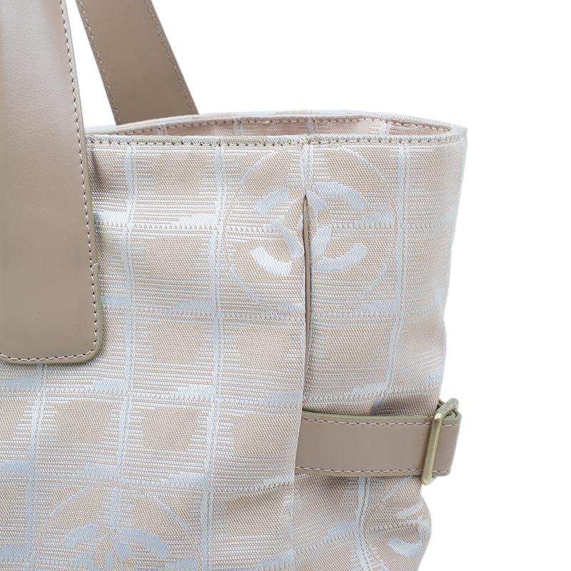 Chanel Beige Nylon Large Travel Ligne Tote Bag