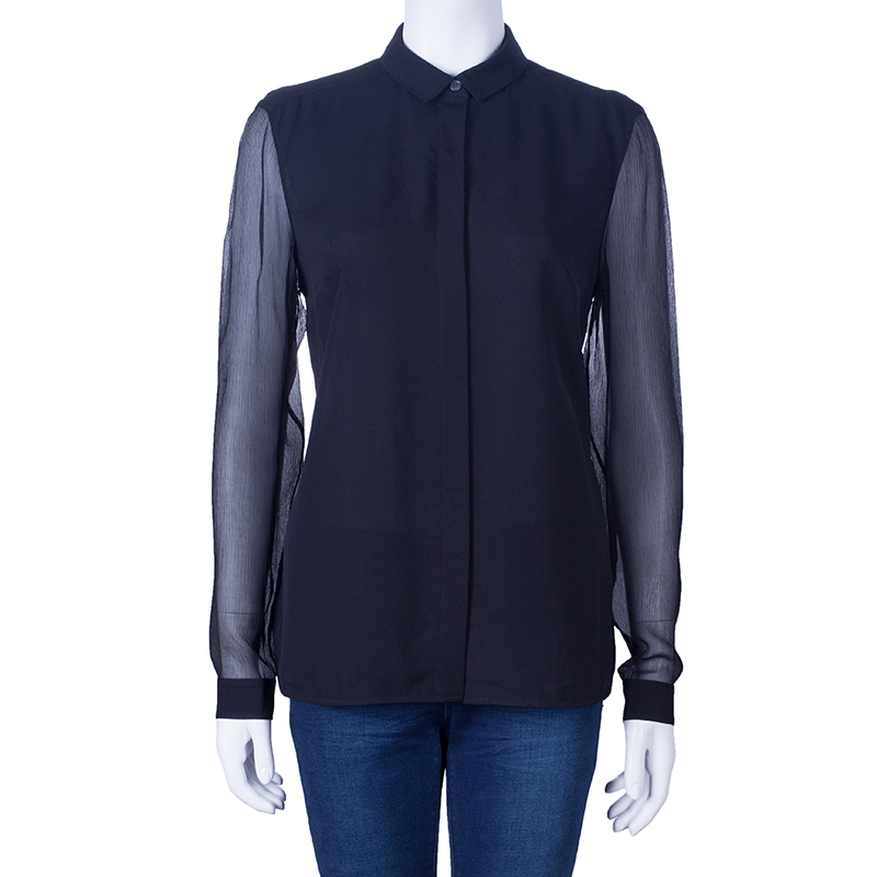 Burberry Black Silk Button Down Top M