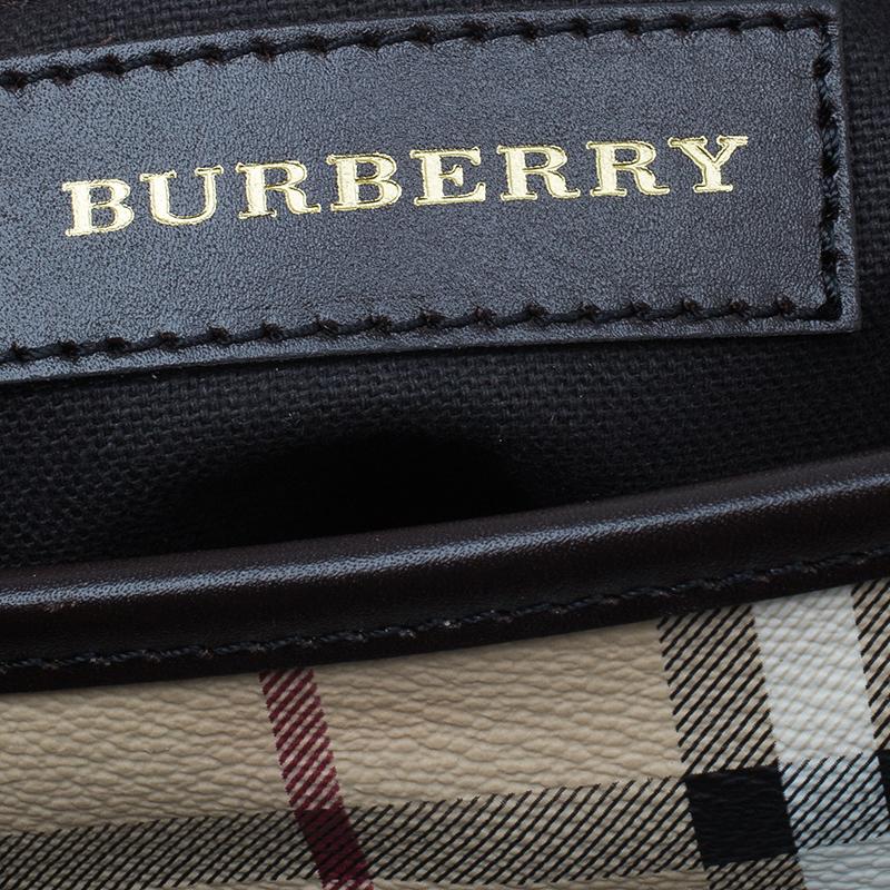 Burberry Brown Haymarket Medium Landscape Heathcliff Tote