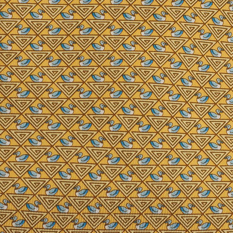 Salvatore Ferragamo Yellow Silk Printed Tie