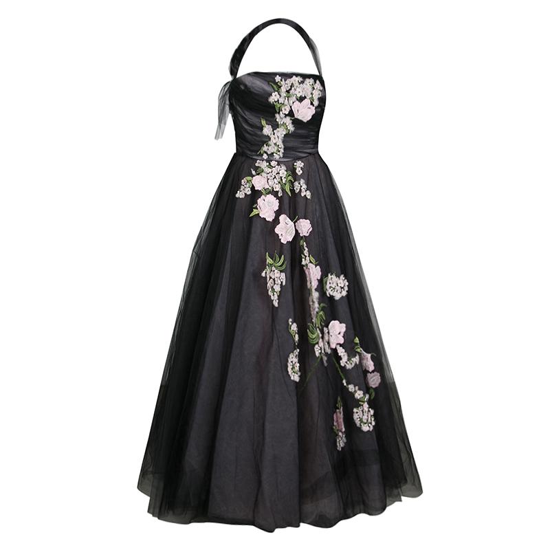 Oscar de la Renta Black Floral Embroidered and Appliqued Tulle ...