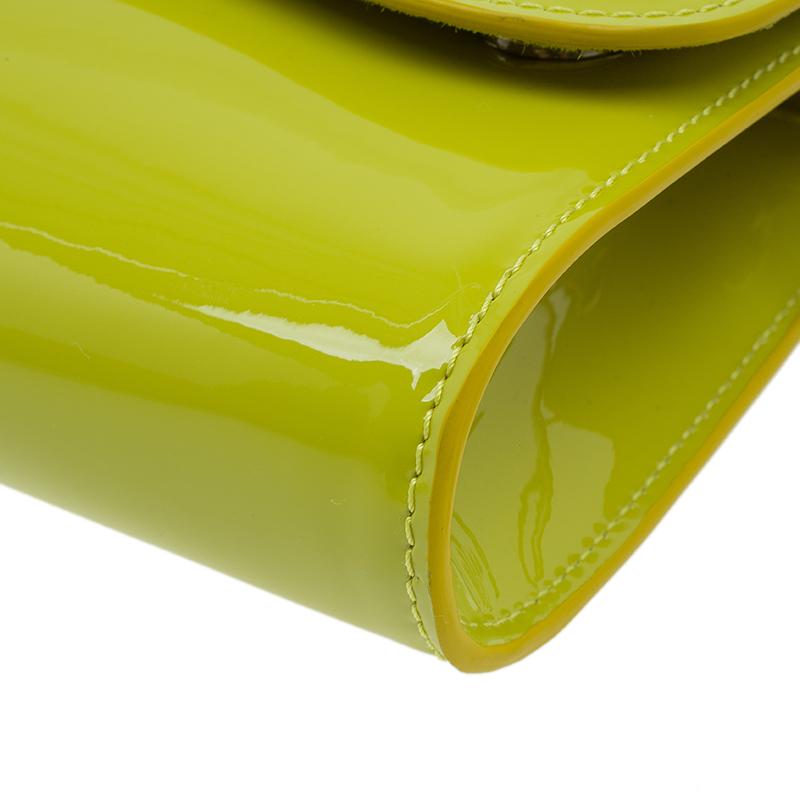 Christian Louboutin Yellow Patent Leather Riviera Clutch
