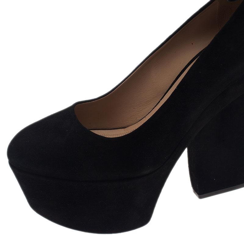 Celine Black Suede Ankle Strap Platform Pumps Size 38