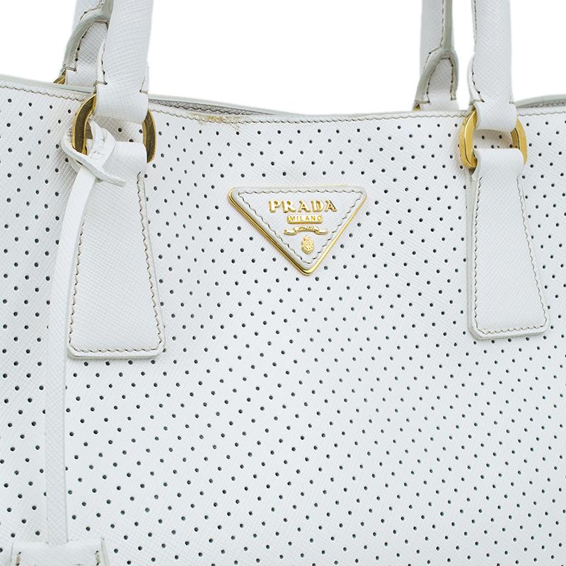 Prada White Perforated Saffiano Leather Medium Lux Tote