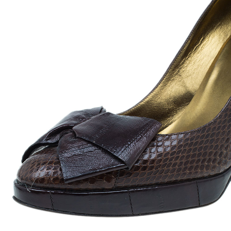 Dolce and Gabbana Brown Python Pumps Size 38.5