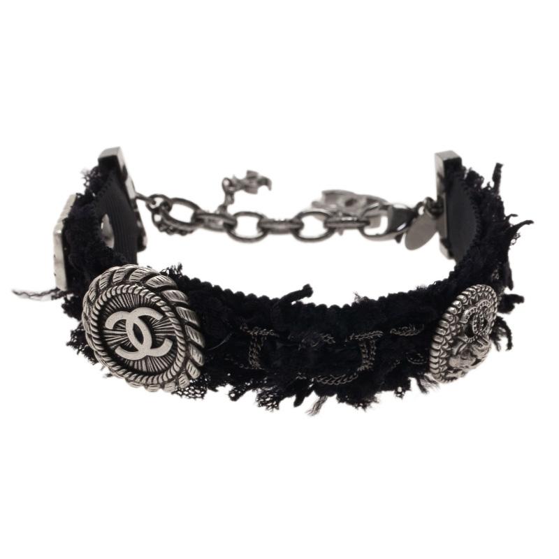 Chanel CC Iconic Studs Black Tweed Bracelet