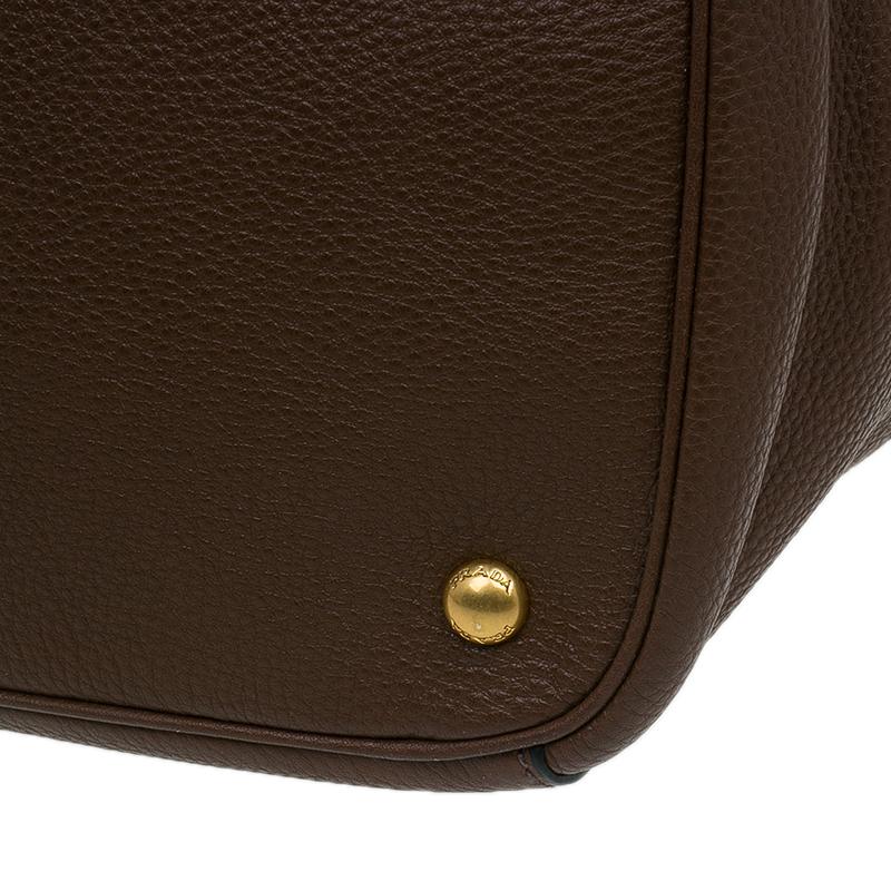 Prada Tobacco Vitello Daino Leather Shopper Tote Bag