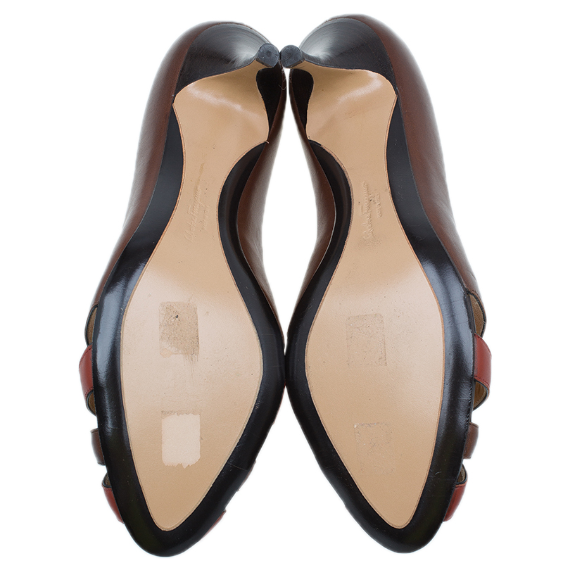 Salvatore Ferragamo Burgundy Leather Criss Cross Peep Toe Pumps 41.5