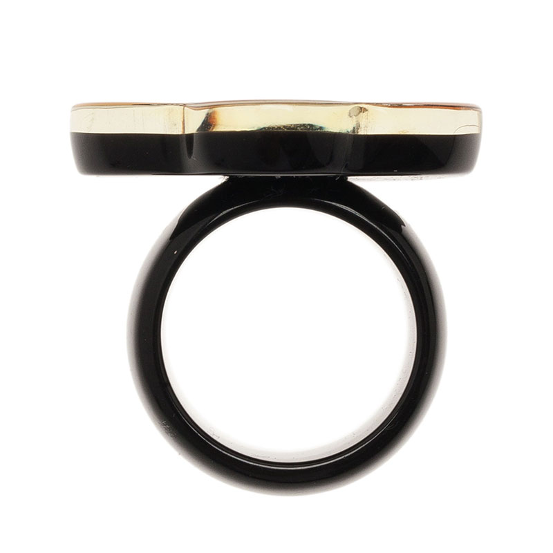 Chanel CC Camellia Resin Crystal Multi Color Ring Size 53
