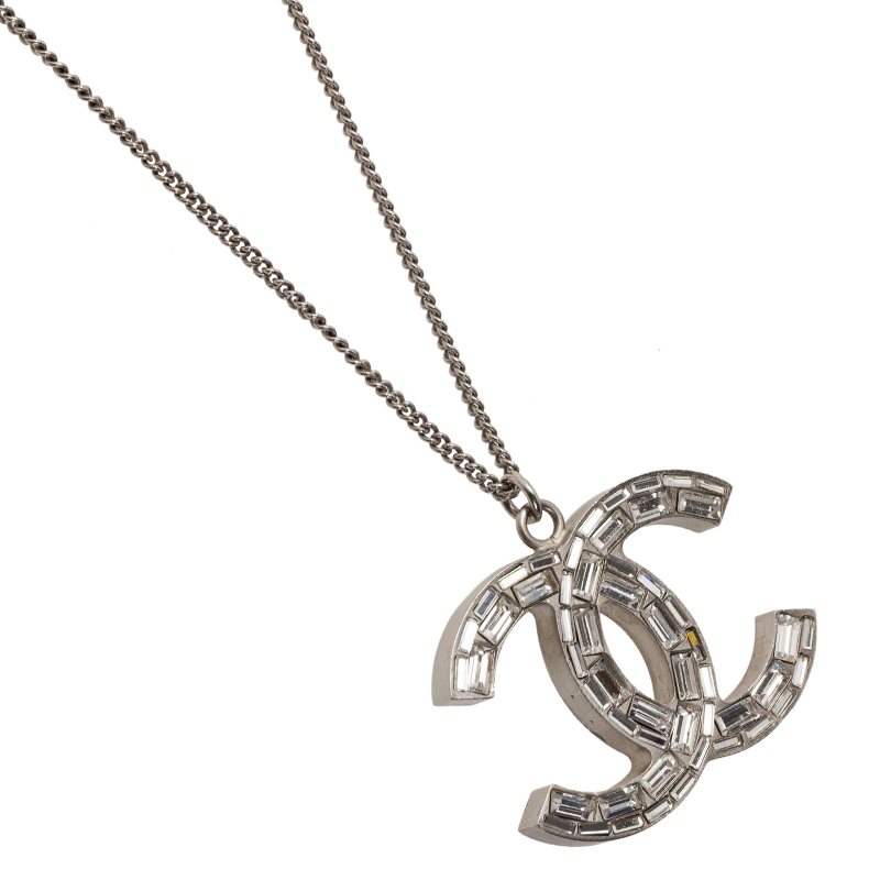 Chanel CC Crystal Silver Tone Pendant Necklace