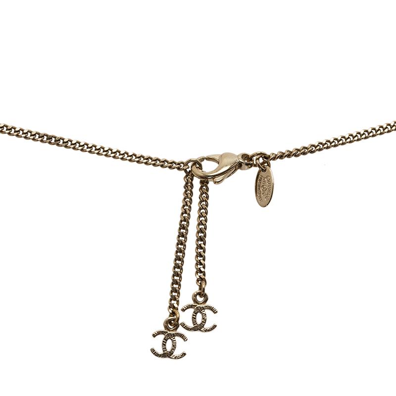 Chanel CC Faux Pearl Logo Pendant Necklace