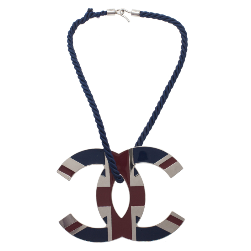 Chanel CC Large Union Jack Pendant Necklace