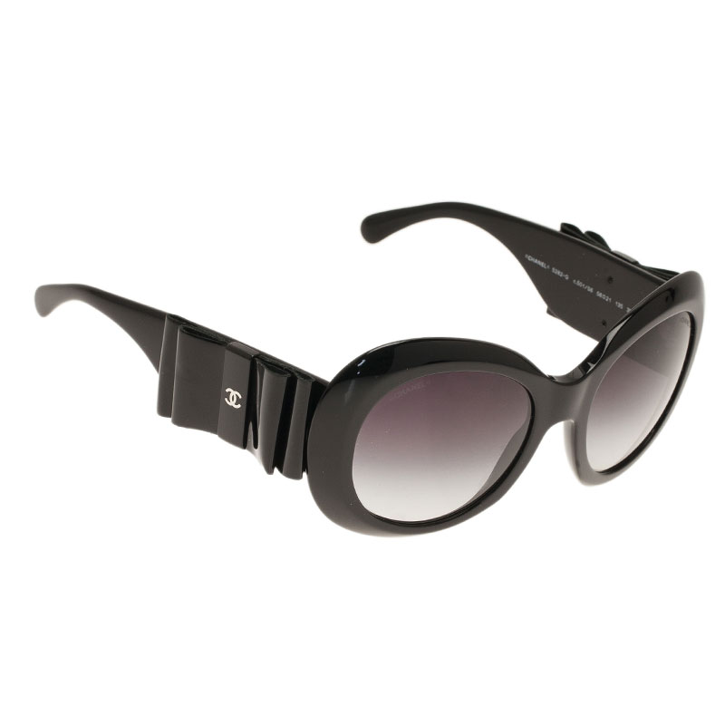 Chanel Black 5282Q Oversized Round Sunglasses