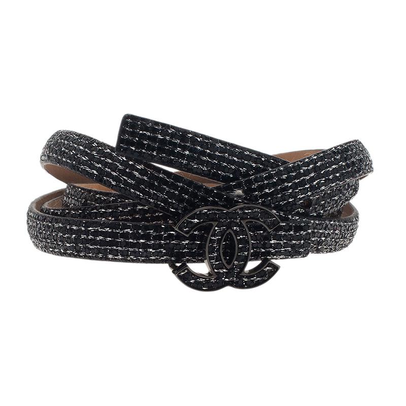 Chanel Black Sequin CC Skinny Belt 100CM