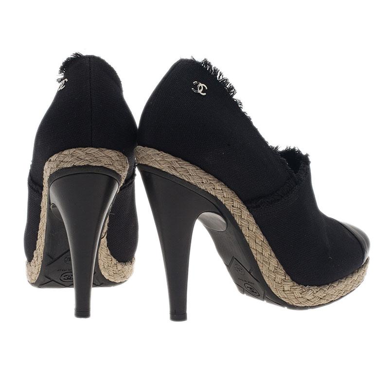 Chanel Black Canvas Cap Toe Espadrilles Clogs Size 40.5