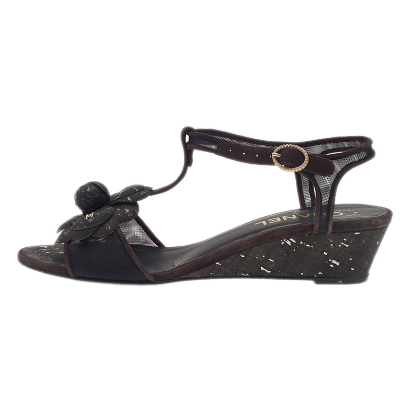 Chanel Black Leather Camellia T Strap Wedge Sandals Size 38.5
