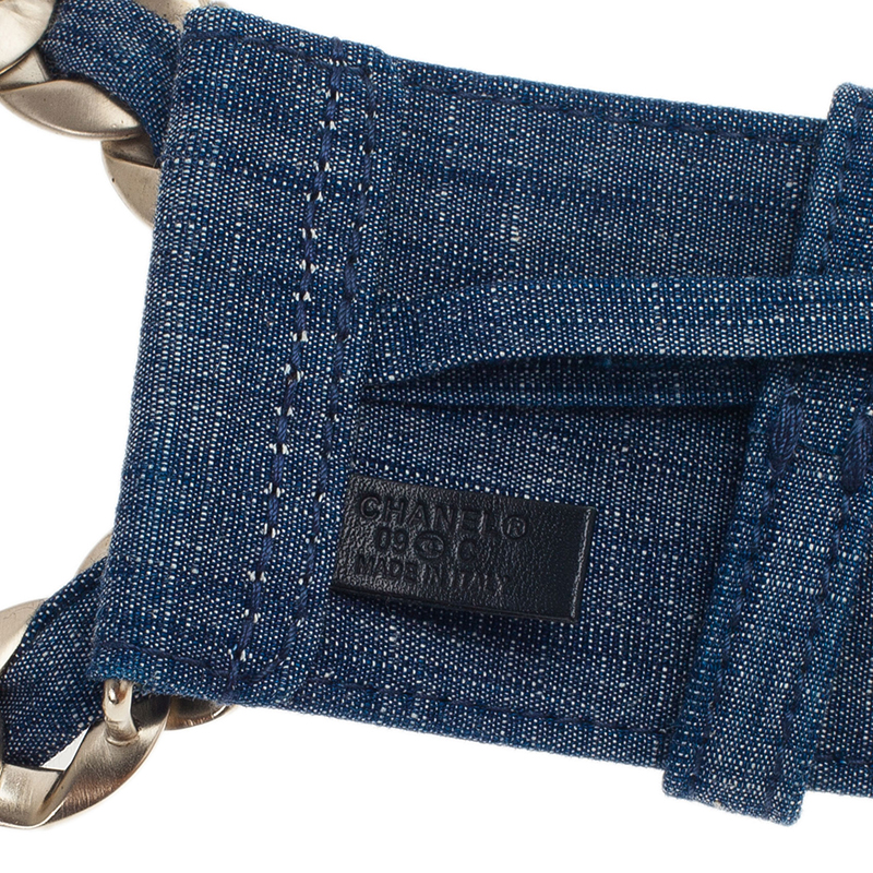 Chanel Blue Denim Chain Buckle Belt 75CM