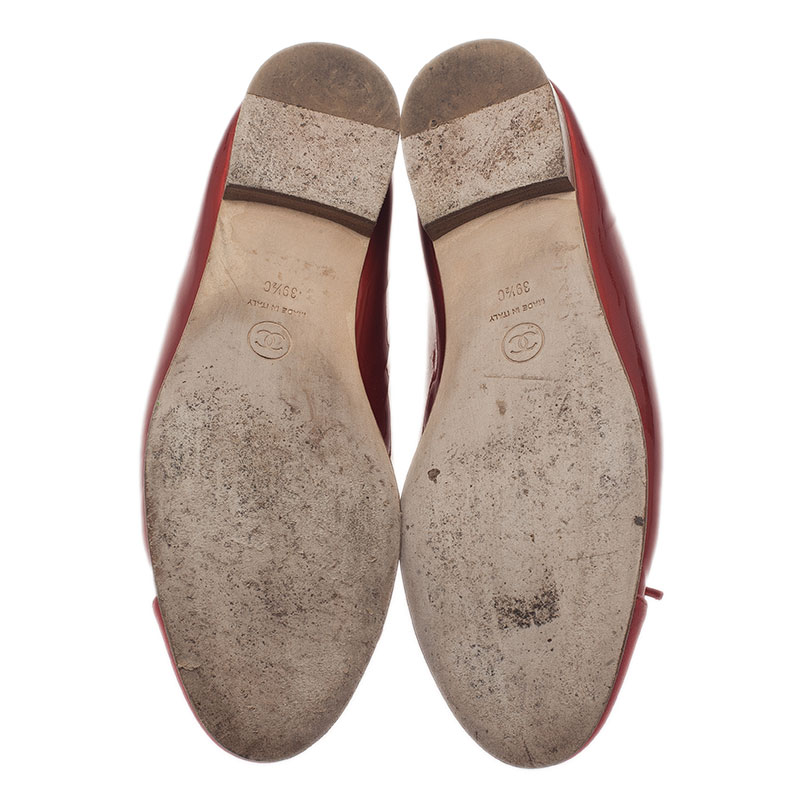 Chanel Red Leather CC Cap Toe Ballet Flats Size 39.5