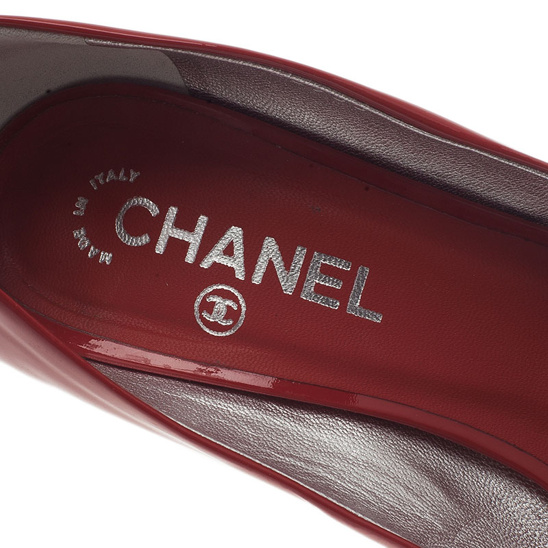Chanel Rouge Patent Leather Peep Toe Pumps Size 40