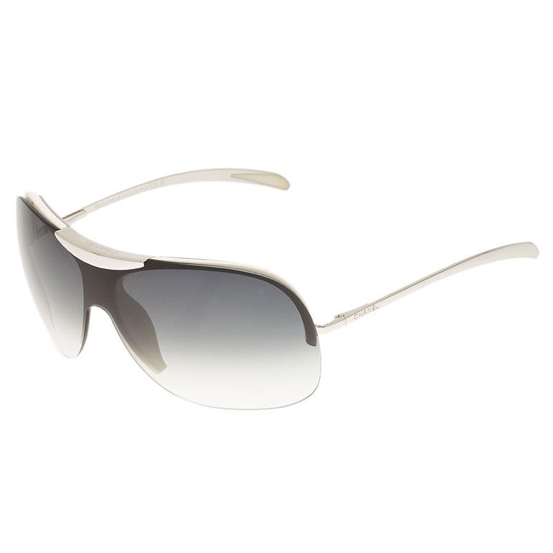 Chanel Silver and White 6007 Shield Sunglasses