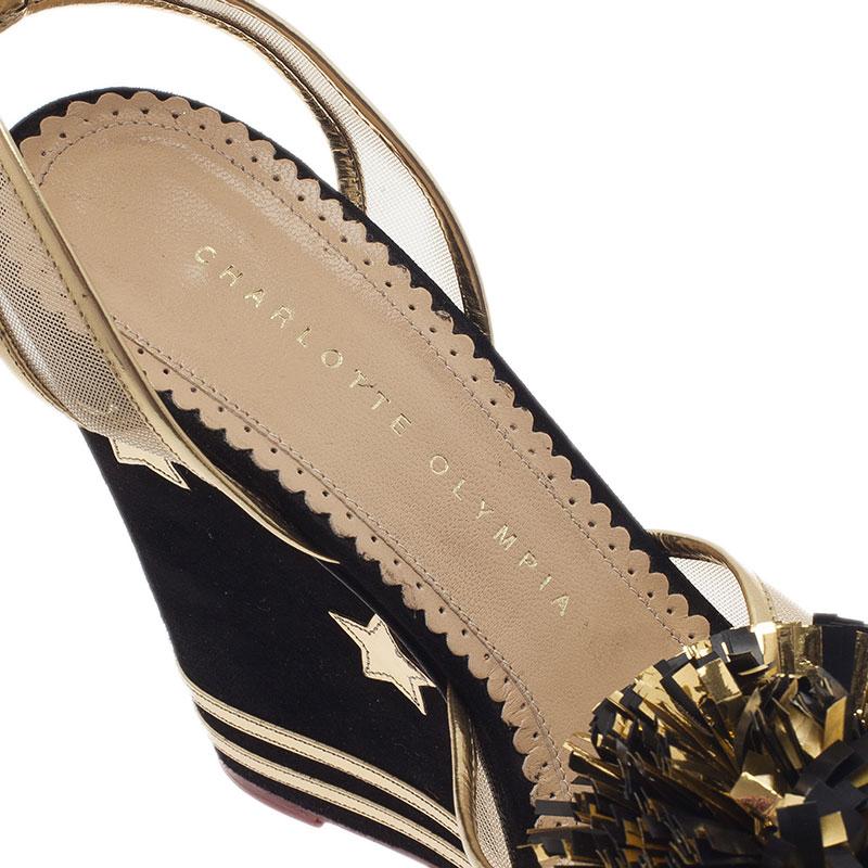 Charlotte Olympia Black Suede Team Spirit Varsity Wedge Sandals Size 37