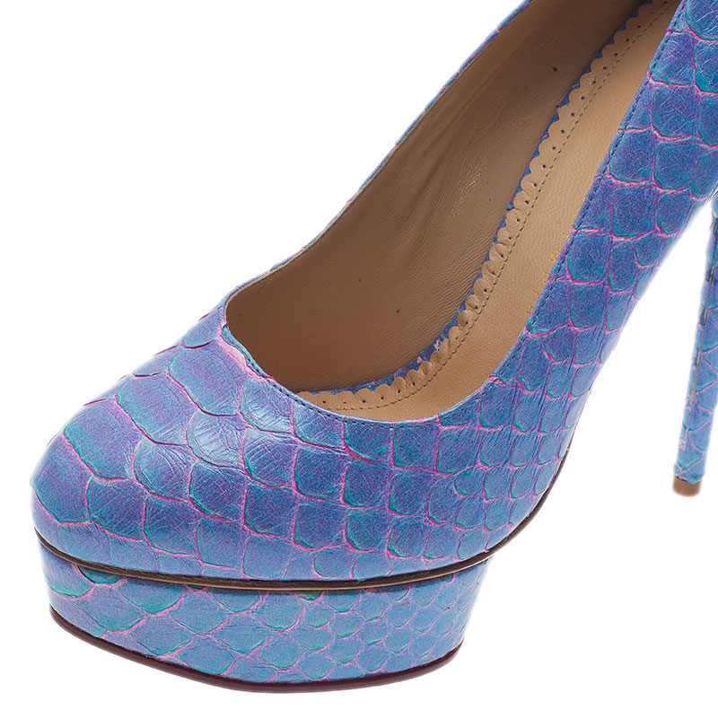 Charlotte Olympia Blue Priscilla Python Platform Pumps Size 39