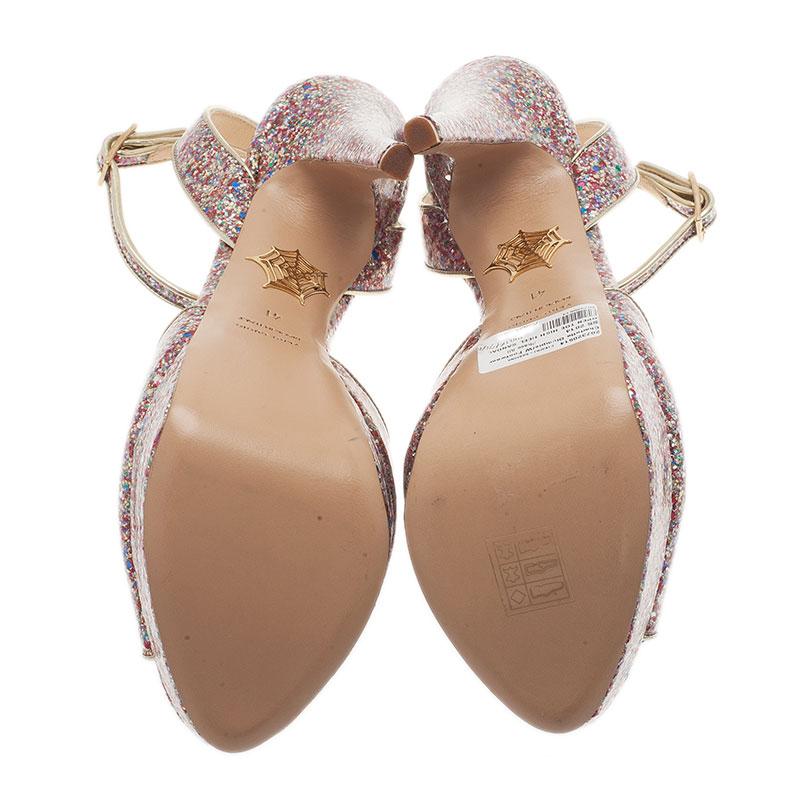 Charlotte Olympia Multicolor Sabrina Cherry Leaf Platform Sandals Size 41